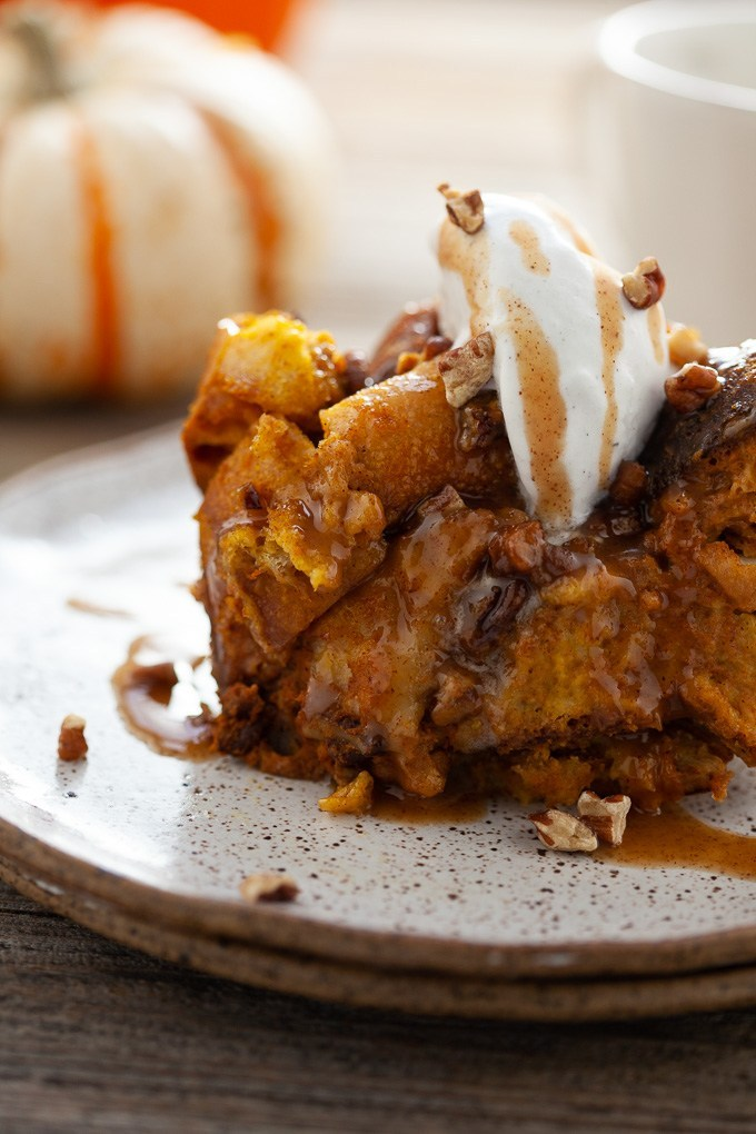 Slow Cooker Pumpkin Bread Pudding with Quick Caramel Sauce