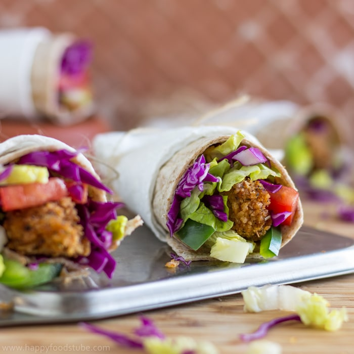 Whole Wheat Crispy Popcorn Chicken Wrap