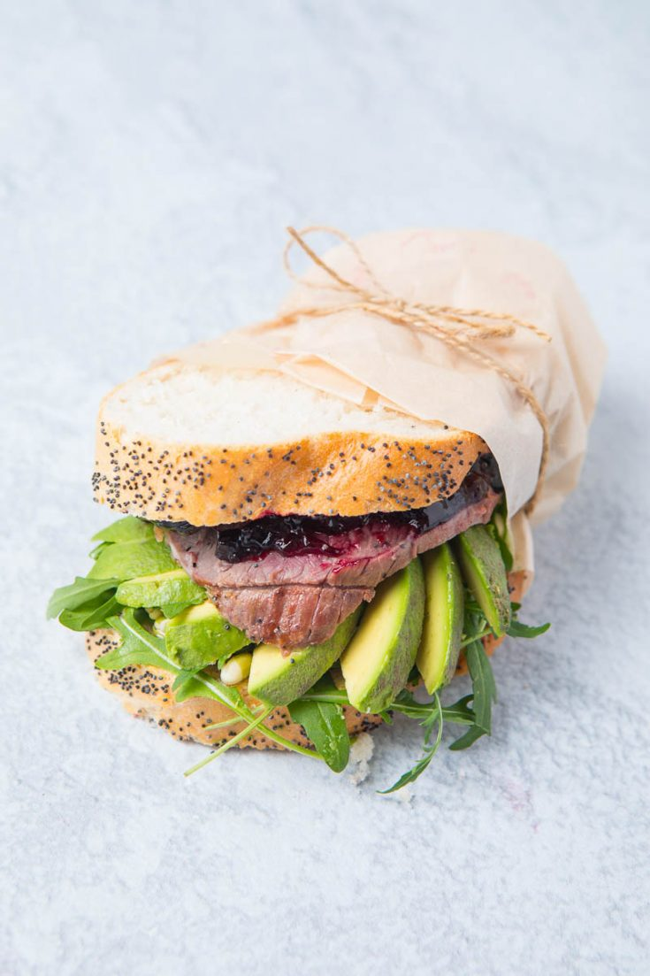 Lamb sandwich with jam and avocado